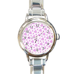 Sweet Doodle Pattern Pink Round Italian Charm Watches by ImpressiveMoments