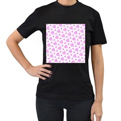 Sweet Doodle Pattern Pink Women s T Shirt (black) (two Sided) by ImpressiveMoments