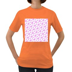 Sweet Doodle Pattern Pink Women s Dark T Shirt by ImpressiveMoments