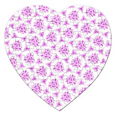 Sweet Doodle Pattern Pink Jigsaw Puzzle (heart) by ImpressiveMoments