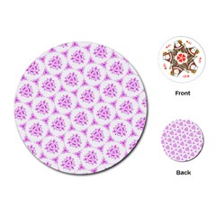 Sweet Doodle Pattern Pink Playing Cards (round)