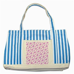 Sweet Doodle Pattern Pink Striped Blue Tote Bag  by ImpressiveMoments