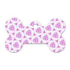 Sweet Doodle Pattern Pink Dog Tag Bone (two Sides) by ImpressiveMoments