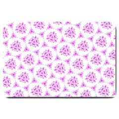 Sweet Doodle Pattern Pink Large Doormat  by ImpressiveMoments