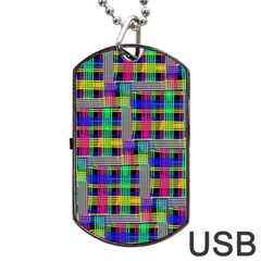 Doodle Pattern Freedom Black Dog Tag Usb Flash (one Side)