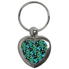 Bright Aqua, Black, And Green Design Key Chains (heart)  by theunrulyartist