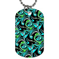 Bright Aqua, Black, And Green Design Dog Tag (two Sides) by theunrulyartist