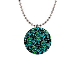 Bright Aqua, Black, And Green Design Button Necklaces by theunrulyartist