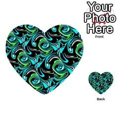 Bright Aqua, Black, And Green Design Multi Purpose Cards (heart)
