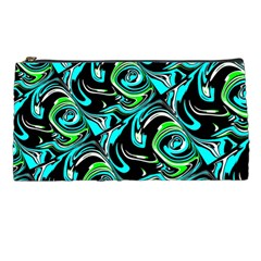 Bright Aqua, Black, And Green Design Pencil Cases by theunrulyartist