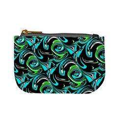 Bright Aqua, Black, And Green Design Mini Coin Purses by theunrulyartist