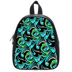 Bright Aqua, Black, And Green Design School Bags (small)  by theunrulyartist