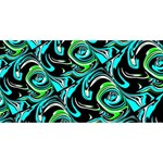 Bright Aqua, Black, and Green Design Happy New Year 3D Greeting Card (8x4)  Front