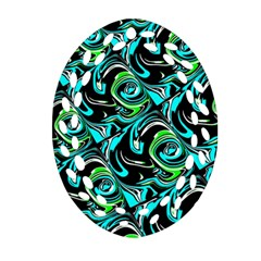 Bright Aqua, Black, And Green Design Oval Filigree Ornament (2 Side)  by theunrulyartist