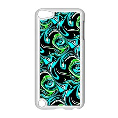 Bright Aqua, Black, And Green Design Apple Ipod Touch 5 Case (white) by theunrulyartist