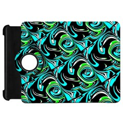 Bright Aqua, Black, And Green Design Kindle Fire Hd Flip 360 Case by theunrulyartist