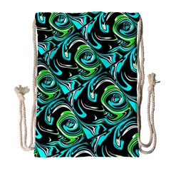 Bright Aqua, Black, And Green Design Drawstring Bag (large) by theunrulyartist