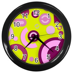 Florescent Yellow Pink Abstract  Wall Clocks (black) by OCDesignss