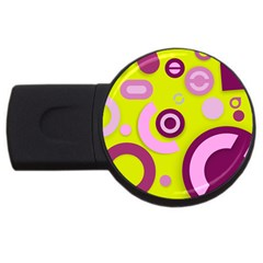 Florescent Yellow Pink Abstract  Usb Flash Drive Round (2 Gb)  by OCDesignss