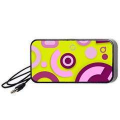Florescent Yellow Pink Abstract  Portable Speaker (black)