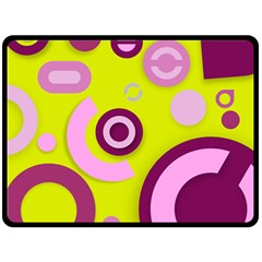 Florescent Yellow Pink Abstract  Double Sided Fleece Blanket (Large)  by OCDesignss