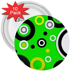 Florescent Green Yellow Abstract  3  Buttons (10 pack)  by OCDesignss