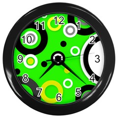 Florescent Green Yellow Abstract  Wall Clocks (Black) by OCDesignss