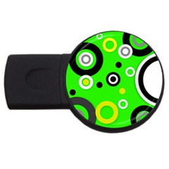 Florescent Green Yellow Abstract  Usb Flash Drive Round (4 Gb)  by OCDesignss