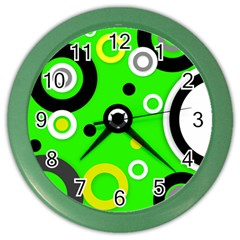 Florescent Green Yellow Abstract  Color Wall Clocks by OCDesignss