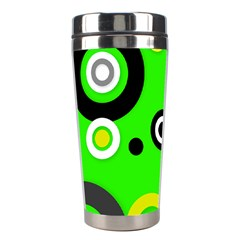 Florescent Green Yellow Abstract  Stainless Steel Travel Tumblers by OCDesignss