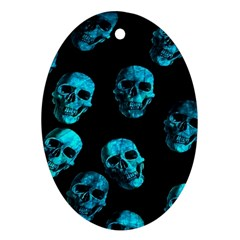 Skulls Blue Oval Ornament (Two Sides) by ImpressiveMoments