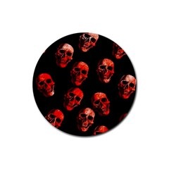 Skulls Red Rubber Round Coaster (4 pack)  by ImpressiveMoments