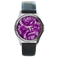 Gorgeous Roses,purple  Round Metal Watches
