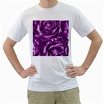 Gorgeous Roses,purple  Men s T-Shirt (White) (Two Sided)