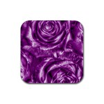 Gorgeous Roses,purple  Rubber Square Coaster (4 pack)