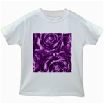 Gorgeous Roses,purple  Kids White T-Shirts