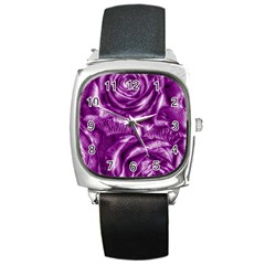 Gorgeous Roses,purple  Square Metal Watches