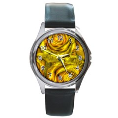 Gorgeous Roses, Yellow  Round Metal Watches