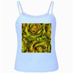 Gorgeous Roses, Yellow  Baby Blue Spaghetti Tanks
