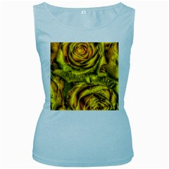 Gorgeous Roses, Yellow  Women s Baby Blue Tank Tops