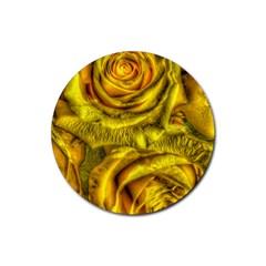 Gorgeous Roses, Yellow  Rubber Coaster (round)
