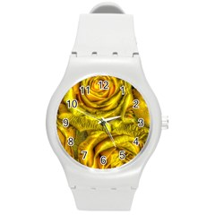 Gorgeous Roses, Yellow  Round Plastic Sport Watch (m)
