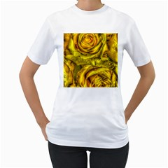 Gorgeous Roses, Yellow  Women s T Shirt (white)