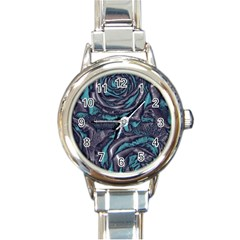 Gorgeous Roses, Aqua Round Italian Charm Watches