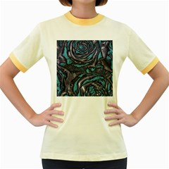 Gorgeous Roses, Aqua Women s Fitted Ringer T Shirts