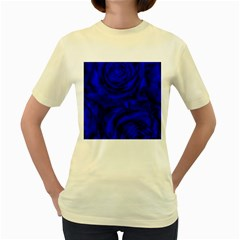 Gorgeous Roses,deep Blue Women s Yellow T Shirt