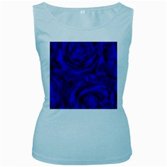 Gorgeous Roses,deep Blue Women s Baby Blue Tank Tops