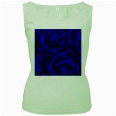 Gorgeous Roses,deep Blue Women s Green Tank Tops