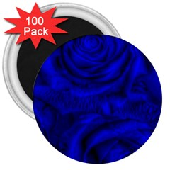Gorgeous Roses,deep Blue 3  Magnets (100 Pack)