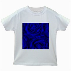 Gorgeous Roses,deep Blue Kids White T Shirts